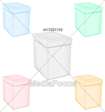 Illustration Set Colorful Closed Unprinted Boxes - Vector Stock Photo