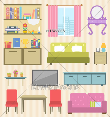 Illustration Set Of Colorful Furniture Of Room For Your Interior Of Apartment. Flat Icons And Objects: Sofa, Bed, Lamps, Bedside Tables, Bookcase And Books, Boudoir, Table, Chairs, Window - Vector Stock Photo