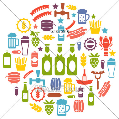 Illustration Set Colorful Icons Of Beers And Snacks, Isolated On White Background - Vector Stock Photo