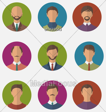 Illustration Set Colorful Male Faces Circle Icons, Trendy Flat Style - Vector Stock Photo