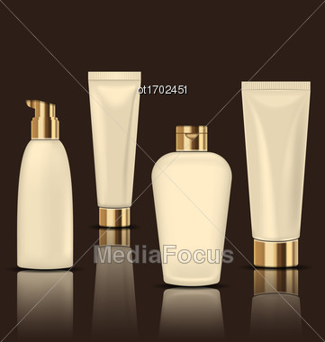 Illustration Set Of Cosmetic Cream Tubes. Collection Package For Soups, Cream, Shampoo. Objects With Reflections - Vector Stock Photo