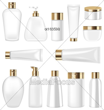 Illustration Set Cosmetic Plastic Bottle And Tube Isolated On White Background. Collection Container For Soap, Gel, Lotion, Mask, Shampoo, Bath Foam - Vector Stock Photo