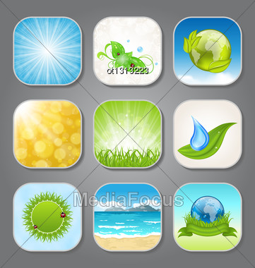 Illustration Set Different Backgrounds For The App Icons - Vector Stock Photo
