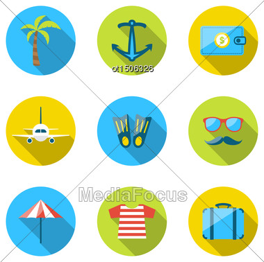 Illustration Set Flat Icons Of Traveling, Tourism And Journey Objects, Modern Long Shadow Style - Vector Stock Photo