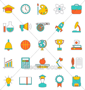 Illustration Set Flat Line Colorful Icons Of School Equipment And Tools. Modern Trend Design. Group Objects Isolated On White Background - Vector Stock Photo