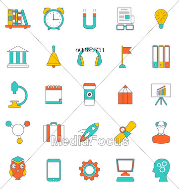 Illustration Set Flat Line Icons Of School Equipment And Tools. Modern Trend Design. Objects Isolated On White Background - Vector Stock Photo