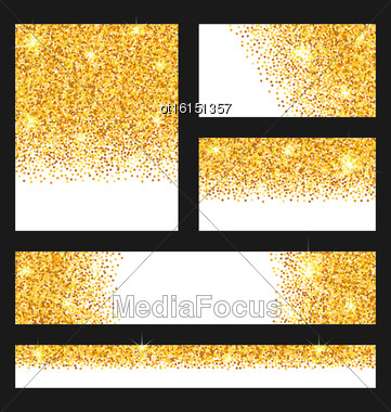 Illustration Set Of Glitter Cards. Golden Surface. Copy Space For Your Text - Vector Stock Photo