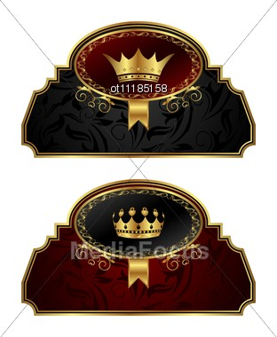 Set Gold Vintage Labels With Crown Stock Photo