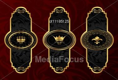 Set Gold Vintage Labels With Design Elements Stock Photo