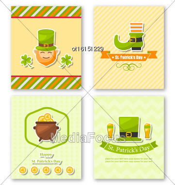 Illustration Set Greeting Posters With Traditional Symbols For St. Patricks Day, Colorful Icons In Flat Style - Vector Stock Photo