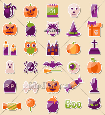 Illustration Set Of Halloween Flat Icons, Scrapbook Elements - Vector Stock Photo