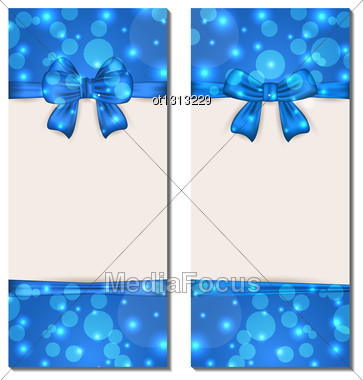 Illustration Set Holiday Cards With Gift Bows Isolated - Vector Stock Photo
