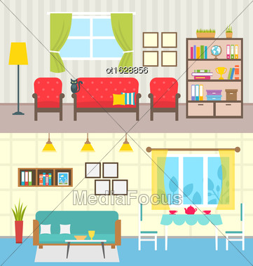 Illustration Set Home Interiors. Design Of Living Rooms. Collection Colorful Furniture In Flat Style - Vector Stock Photo