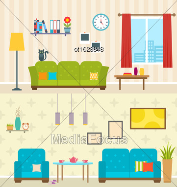 Illustration Set Of Interiors Of Living Rooms. Decoration Of Modern Apartments. Minimalism Style. Home Furniture - Vector Stock Photo