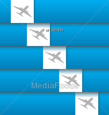 Illustration Set Of Labels With Airplanes For Aviation Company - Vector Stock Photo