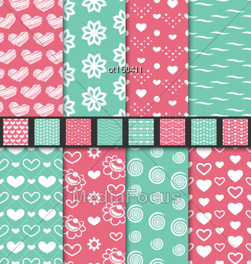Illustration Set Of Love And Romantic Seamless Backgrounds. Valentine Day Patterns With Pink, Green And White Colors - Vector Stock Photo
