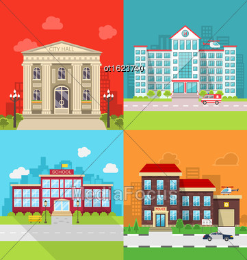 Illustration Set Municipal Buildings - City Hall, Hospital, School And Police Station. Colorful Banners With Architecture, Exterior, Cityscape - Vector Stock Photo