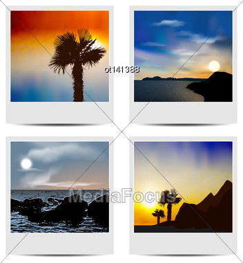 Illustration Set Photo Frames With Beaches - Vector Stock Photo