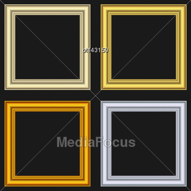 Illustration Set Picture Frames Isolated On Black Background - Vector Stock Photo