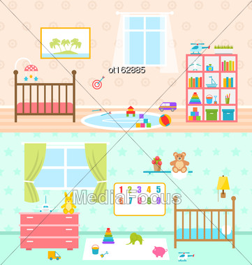 Illustration Set Playrooms For Kids. Baby Rooms Interior. Cradle, Window, Carpet, Bookcase, Toys, Stuffed Toys, Bookshelf, Alphabet. Flat Minimal Style. Set Colorful Furniture - Vector Stock Photo