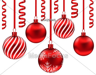 Illustration Set Red Glass Balls With Serpentine For Merry Christmas, Isolated On White Background - Vector Stock Photo