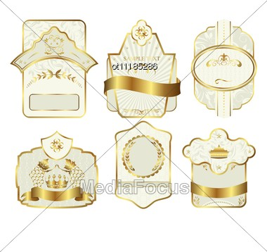 Set Retro Variation Vintage Labels Stock Photo