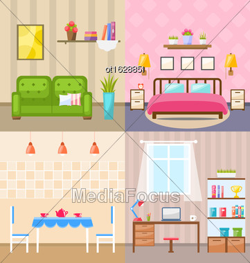Illustration Set Room Interiors With Furniture Flat Icons: Living Rooms With Sofa, Bedroom With Bed, Lamps And Bedside Tables, Dining Room, Home Office With Desk, Bookcase. Minimalism Style - Vector Stock Photo