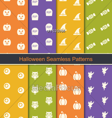 Illustration Set Seamless Abstract Patterns With Halloween Symbols - Vector Stock Photo