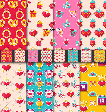 Illustration Set Seamless Patterns With Colorful Traditional Objects And Elements For Valentines Day. Collection Holiday Bright Backgrounds - Vector Stock Photo