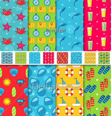 Illustration Set Seamless Patterns With Tourism Objects And Equipments. Can Be Used For Wallpapers, Web Page Backgrounds - Vector Stock Photo