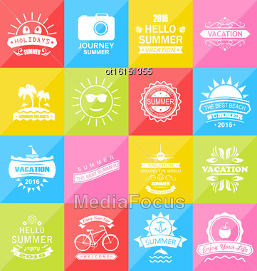 Illustration Set Summer Holidays Labels, Design Elements And Typography. Template For Logo - Vector Stock Photo