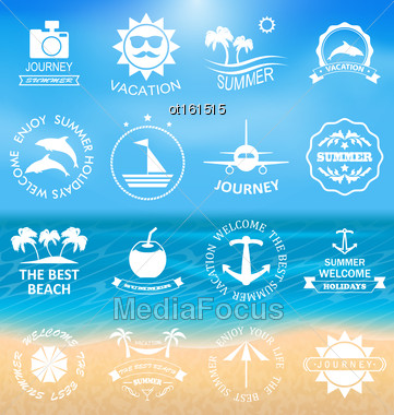Illustration Set Summer Labels,Templates, Badges, Posters, Frames For Design Of Beach Vacation, Party, Travel, Tropical Paradise. Templates For Logo - Vector Stock Photo