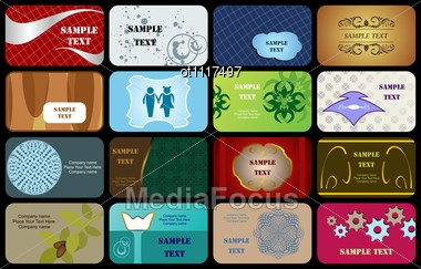 Set Variety Horizontal Business Cards On Different Topics Stock Photo