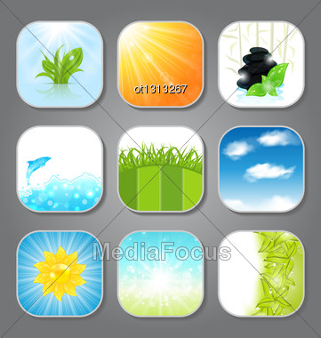 Illustration Set Various Backgrounds For The App Icons - Vector Stock Photo