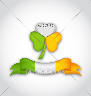 Illustration Shamrock And Ribbon In Traditional Irish Flag Colors For St. Patrick's Day - Vector Stock Photo