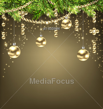 Illustration Shimmering Background With Fir Branches And Golden Christmas Balls - Vector Stock Photo