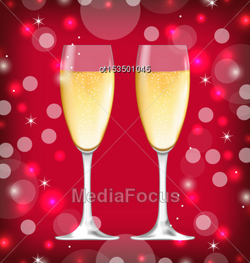 Illustration Shimmering Background With Realistic Glasses Of Champagne - Vector Stock Photo