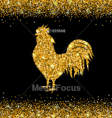 Illustration Shimmering Background With Rooster As Symbol Chinese New Year 2017, Glisten Cock, Surface With Golden Dust - Vector Stock Photo