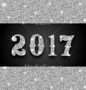 Illustration Shimmering Background With Silver Dust For Happy New Year 2017 - Vector Stock Photo