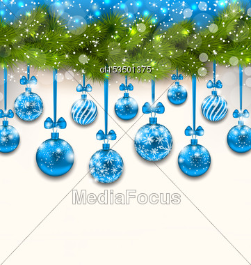 Illustration Shimmering Light Wallpaper With Fir Branches And Blue Glassy Balls For Happy Winter Holidays - Vector Stock Photo