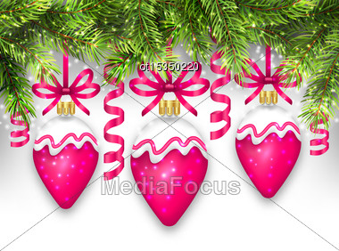 Illustration Shimmering Light Wallpaper With Fir Branches And Christmas Pink Balls For Happy Winter Holidays - Vector Stock Photo