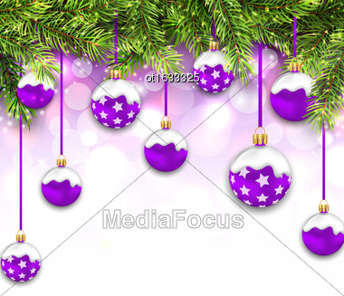Illustration Shimmering Snowing Background With Fir Branches And Purple Christmas Balls - Vector Stock Photo