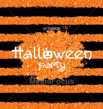 Illustration Shine Orange Wallpaper For Happy Halloween Party. Holiday Template, Bright Background - Vector Stock Photo