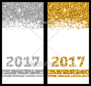 Illustration Shiny Festive Cards With Snowflakes And Sparkles For Happy New Year 2017 - Vector Stock Photo
