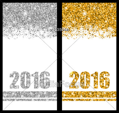 Illustration Shiny Festive Postcards With Snowflakes And Sparkles For Happy New Year 2016 - Vector Stock Photo