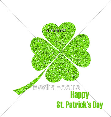 Illustration Shiny Twinkle Clover For St. Patricks Day, Isolated On White Background - Vector Stock Photo