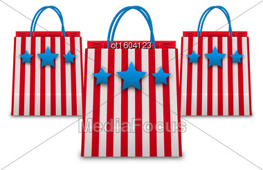 Illustration Shopping Bags In American Patriotic Colors. Packets Isolated On White Background - Vector Stock Photo