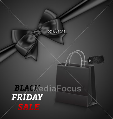 Illustration Shopping Paper Bag For Black Friday Sales And Bow On Black Background - Vector Stock Photo