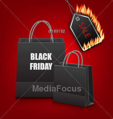 Illustration Shopping Paper Bags For Black Friday Sales And Discount With Fire On Red Background - Vector Stock Photo