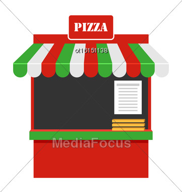 Illustration Showcase Of Sale Of Pizza, Stall, Marketplace Isolated On White Background - Vector Stock Photo